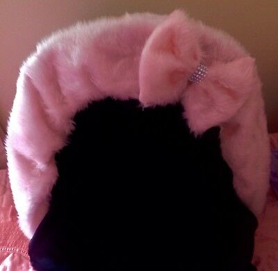fur Pram hood trim Baby pink with matching bow with diamante bling
