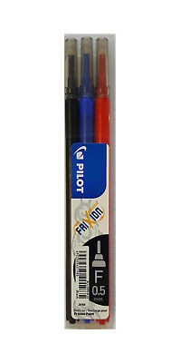 Pilot 0.5mm Fine Tip Heat & Friction Erasable Pen Refills, Black, Blue & Red