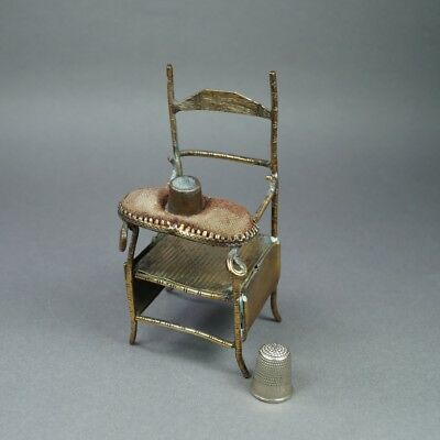 Antique Novelty Chair Brass Thimble Holder Pin Cushion Circa 1870