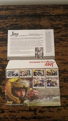IOM TT 2001 JOEY DUNLOP FIRST DAY COVER signed by STEVE HISLOP
