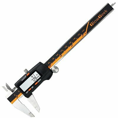 GlowGeek Electronic Digital Caliper Inch/Metric/Fractions Conversion 0-6 Inch