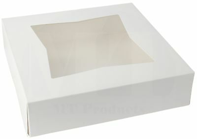 "9"" x 9""  x 2 1/2""  White Window Paperboard Pie / Bakery Box (Pack of 15)"