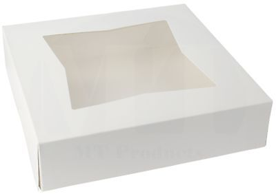 "Pie Bakery Box 9"" x 9""  x 2 1/2"" White Window Paperboard (Pack of 15)"