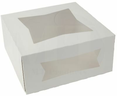 """9"""" x 9"""" x 4"""" White Paperboard Auto-Popup Window Pie / Bakery Box (Pack of 15)"""