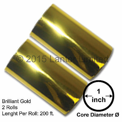 "Hot Stamp Foil Stamping Tipper Kingsley 2 Rolls 3""x200ft Gold #BW88-200E-S2-1""#"