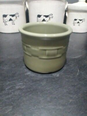 Longaberger Heritage Olive Green Crock Candle Holder USA Pottery