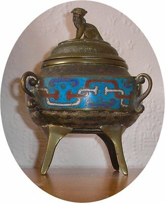 Qing Period Chinese Bronze & Cloisonne Censer / Incense Burner Fo Dog Finial