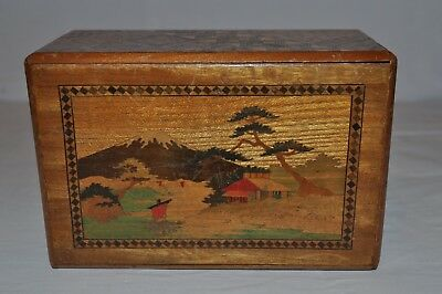 Old Japanese Yosegi & Zougan Zaiku 8 Move Puzzle Box