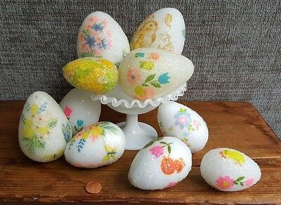 70s Handmade Sugar Styrofoam & Plastic Patterned Assorted Colored Easter Eggs, 9