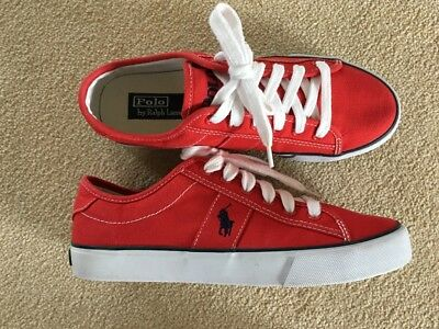 Men's Red Polo Ralph Lauren Trainers - Size 7