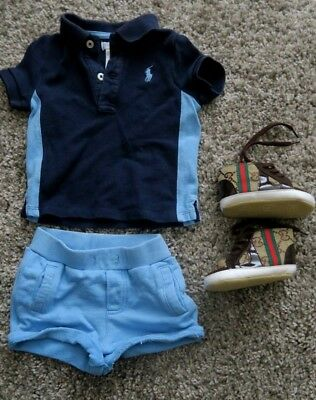 Ralph Lauren designer polo shirt t-shirt shorts suit / shoes 6-9 Months bundle