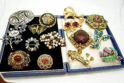 Vintage Jewellery Mixed Job Lot Collection Of Brooches Pins Various