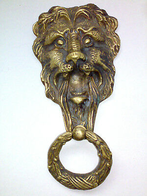 VINTAGE OLD STYLE EGYPTIAN HAND MADE SOLID BRASS LION DOOR KNOCKER 800gm