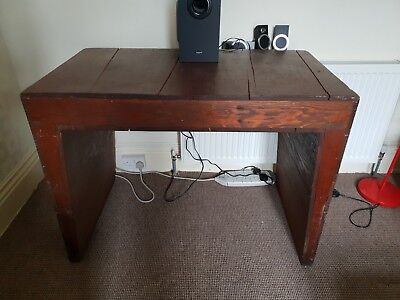 Vintage wooden Computer Writing Desk table antique Old chunky