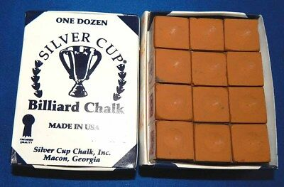 Silver Cue Red Billiard Pool Cue Chalk Box of 12 Free Shipping