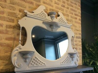 Painted Antique Ornate Over Mantle Mirror