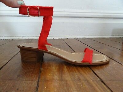 328060446c9 sz 8 J. Crew  178 G4814 Fringed Grosgrain Ribbon Block-Heel Sandals Italy  new