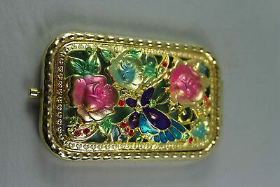 Handwork Exquisite Collectable China Cloisonne Corved Rose & Mirror Delicate Box