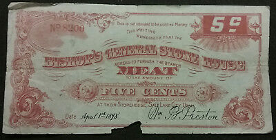 1898 5c Bishop's General Store House UTAH Mormon Antique Merchant Scrip Obsolete