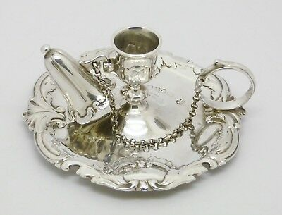 Superb Rare Victorian Solid Silver Chamberstick Candle Holder & Snuffer Hm 1884