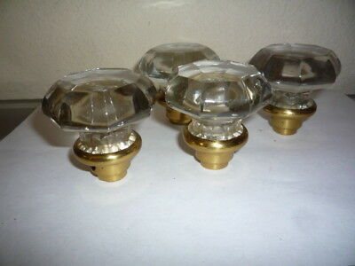Lot of 4 Antique CLEAR GLASS DOOR KNOBS Brass Base