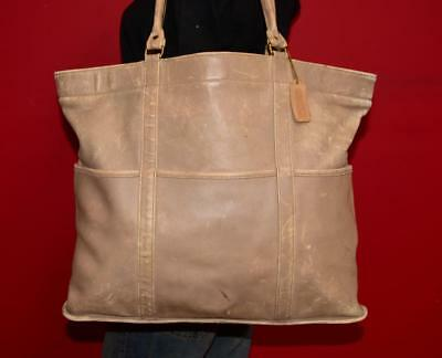 Vintage COACH XL RARE Beige Leather Tote Travel Case Shopper Made in the USA