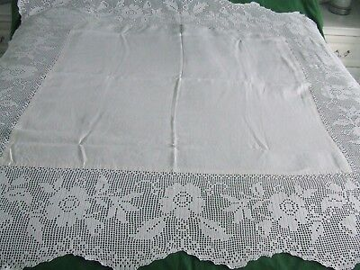 large vintage lablecloth deep hand made lace