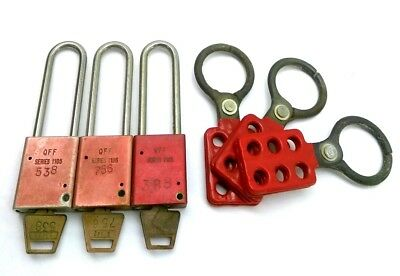 """Lot of 3 American Lock 1105 Lock Out Tag Out Padlock & Hasps, 3"""" Shackle, w/ Key"""