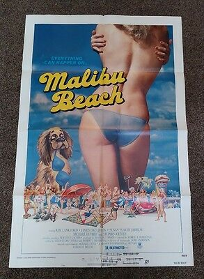 """Malibu Beach"" 1978 original 27"" by 41"" folded one sheet movie poster vg cond"
