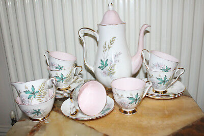 Vintage Bone china Queen Anne Louise pale pink Coffee set coffee pot Rare v good
