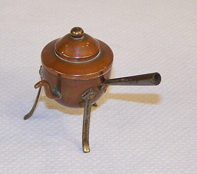 Rare Antique Miniature Copper Kettle Stock Pot Or Lidded Pan ~ Toy Dolls House ?