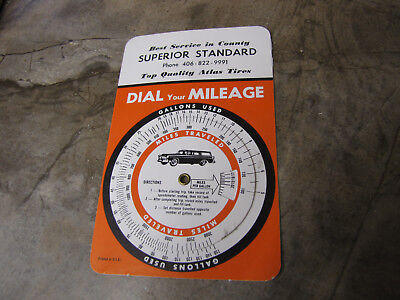 Vintage   gas chart  Dial Your Mileage SUPERIOR STANDARD TOP QUALITY ATLAS TIRES