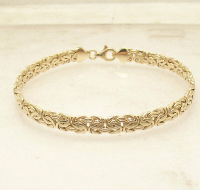 "8""  All Shiny Byzantine Bracelet with Lobster Lock Real 14K Yellow Gold 6mm"
