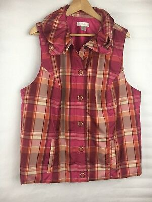 CJ Banks 2x Vest Lightweight Pink Purple Plaid Pockets Snap Closure Ruffle