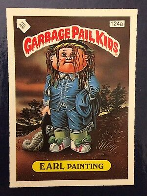 Earl Painting 124a UK Garbage Pail Kids Series 5(1987)Acne Amy Back~Mint~Rare