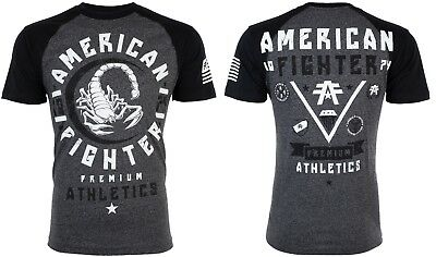 AMERICAN FIGHTER Mens T-Shirt MICHIGAN Athletic BLACK GREY Biker Gym MMA UFC $40