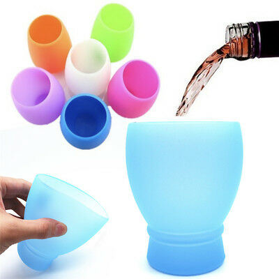 1PC Silicone Wine Glass Unbreakable Outdoor Stemless Beer Whiskey Portable Cups