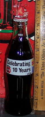 1998 Burger King Celebrating 10 Years  8 Ounce Glass Coca - Cola Bottle No Upc