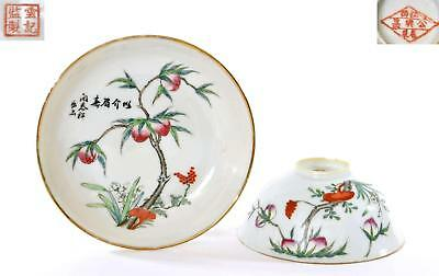 Old Chinese Famille Rose Porcelain Bowl & Dish Plate Peach Tree Signed 開泰祥
