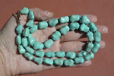 Vintage Chinese Turquoise Carved Carving Pebble Bead Necklace 74 Gram