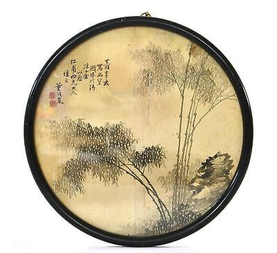 19C Chinese Silk Hand Painted Painting Bamboo Frame Signed 董潤嵐 NOT SCROLL