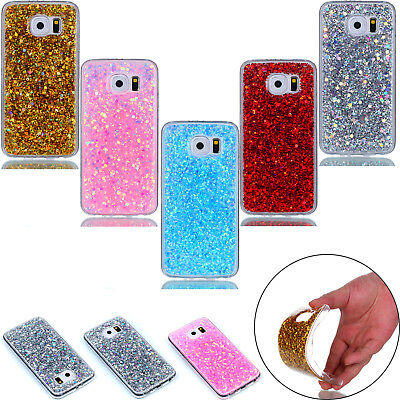 Bling Crystal Sparkly Soft TPU Silicone Bumper Case Cover for iphone Samsung S7