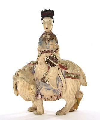 Chinese Bovine Water Buffalo Bone Carved Carving Snuff Bottles Lady Goat - AS IS