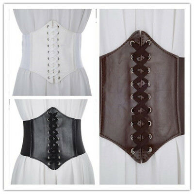 New Waist Cincher Corset  Wide Band Elastic Tied Waspie Belt One Size Leather AU