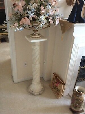 Marble White Pedestal Plant Or Bust Stand