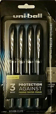 uni-ball Vision Elite Rollerball Pens, Micro Point (0.5mm), Black, 4 Count