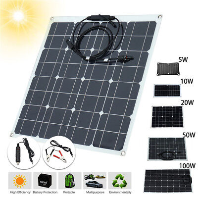 10 50 100w panneau solaire monocrystalline batterie chargeur camping voiture rv eur 15 99. Black Bedroom Furniture Sets. Home Design Ideas