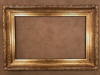 Antique Late 19th Century Large 36x22 Gold Gilt Baroque Picture Frame