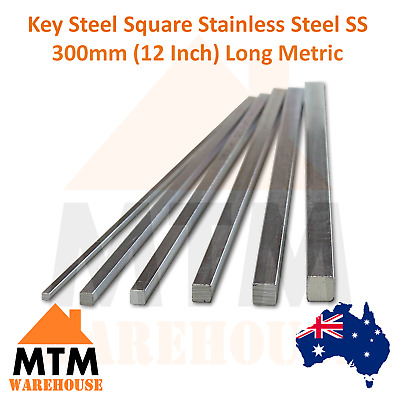 Key Steel Square Stainless Steel SS 300mm (12 Inch) Long Metric