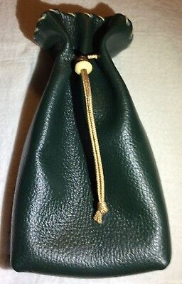 Dark Green Leather Drawstring, Dice Bag, Coin Pouch